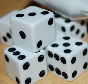 Dice stacked